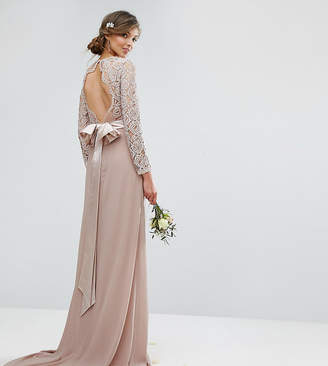 TFNC Tall Wedding Lace Maxi Dress With Bow Back