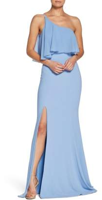Dress the Population Faith One-Shoulder Flounce Crepe Gown