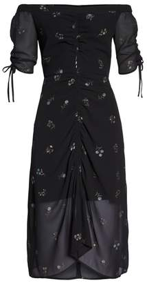 Sam Edelman Off the Shoulder Foil Print Dress
