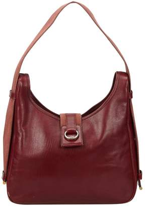 Hermes Vintage Tsako Burgundy Leather Handbag