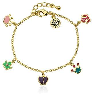 "Little Miss Twin Stars ""Rocking Royalty"" 14k Gold-Plated colored Crowns Charm Bracelet"
