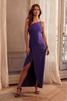 Lipsy One Shoulder Pleated Maxi Dress - 6 - Blue