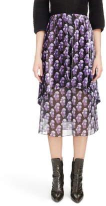 Chloé Floral Print Layered Velvet Midi Skirt