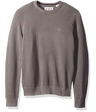 Original Penguin Men's Long Sleeve Honeycomb Pique Sweater