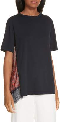 Clu Mix Media Pleat Lace Detail Tee