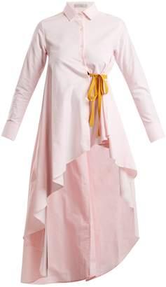 Palmer Harding PALMER/HARDING Tie-waist dip-hem cotton shirt