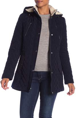 Laundry by Shelli Segal Quited Faux Fur Hooded Jacket