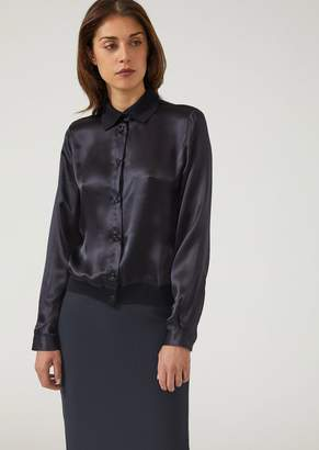 Emporio Armani Silk Satin Shirt With Elasticated Hem