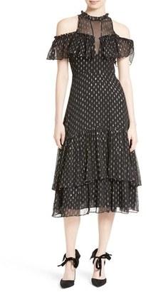 Women's Rebecca Taylor Metallic Clip Midi Dress $595 thestylecure.com