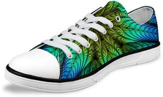 FOR U DESIGNS Men's Classic Casual Floral Lace-up Lo-top Canvas Sneaker Green US 9