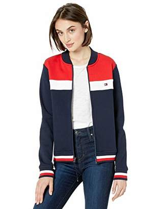 7eb524fd Tommy Hilfiger Women's Track Jacket with Magnetic Zipper, Masters Navy/high  Risk red/