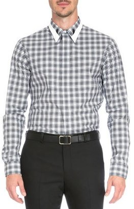 Givenchy Plaid Shirt with Contrast Collar, Black $565 thestylecure.com