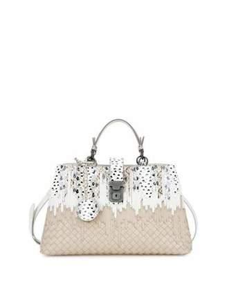 Bottega Veneta Small Flow Wave Snakeskin Tote Bag, White/Beige $4,300 thestylecure.com
