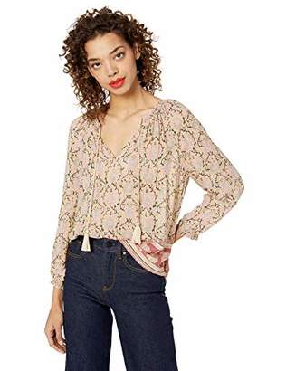Lucky Brand Women's Paisley Border Print Peasant TOP