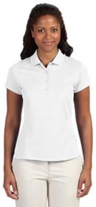 adidas Ladies' climalite Texture Solid Polo - WHITE/ BLACK - M A171