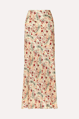 Paco Rabanne Floral-print Crepe De Chine Maxi Skirt - Pink
