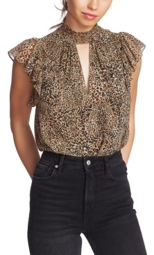 1 STATE 1.State 1.state Flutter-Sleeve Leopard-Print Top