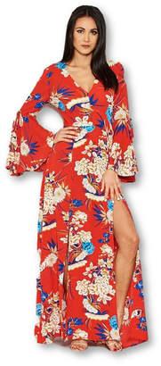 AX Paris Floral Print Dress with Leg Split