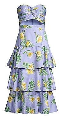 AMUR Women's Roxy Linen-Blend Strapless Tiered Midi Dress - Size 0