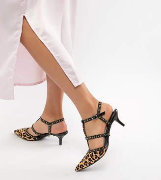 Dune Wide Fit Cristyn Faux Leopard Studded Kitten Heeled Shoes