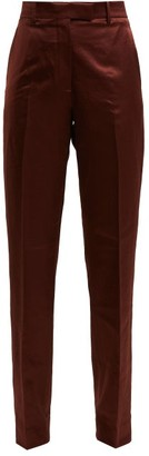 Calvin Klein Side Stripe Straight Leg Satin Trousers - Womens - Brown Multi