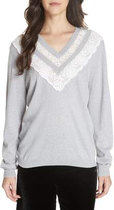 Rebecca Taylor Lace Trim Merino Wool Sweater