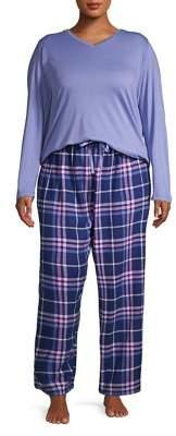 Hue Plus Three-Piece Plaid Pajama Set