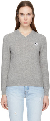 Comme des Garcons Grey Heart Patch V-Neck Sweater