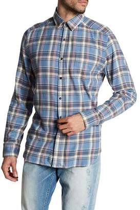 Gilded Age Parker Front Button Plaid Print Tapered Fit Shirt