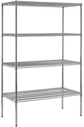 "Edsal Muscle Rack Heavy Duty Steel Adjustable Wire Shelving, 800 lb Capacity, 48""W x 86""H x 24""D, 4 Shelves, Chrome"