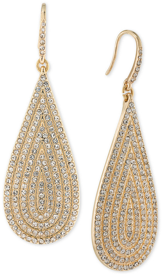 ABS By Allen Schwartz ABS by Allen Schwartz Gold-Tone Pavé Drop Earrings