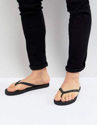 Jack Wills Steadman Flip Flops In Black