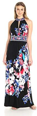 London Times Women's Sleeveless Halter Jersey Maxi Dress w. Keyhole