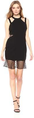 Bebe Women's Solid Sheath Dress Inserts and Mesh Ruffle Hem
