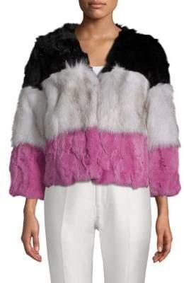 Adrienne Landau Stripe Dyed Rabbit and Natural Fox Fur Jacket