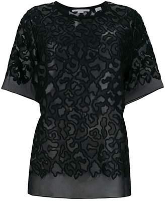 Stella McCartney sheer leopard print patch T-shirt