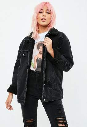 Missguided Black Borged Lined Denim Trucker Jacket