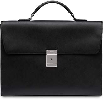 Prada top handle leather briefcase