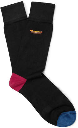Paul Smith Embroidered Stretch Cotton-Blend Socks