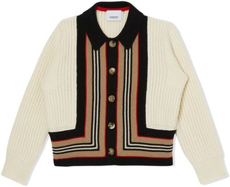 Burberry Icon Stripe Detail Wool Cashmere Cardigan