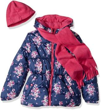 Pink Platinum Little Girls' Floral Print Puffer with Hat and Scarf