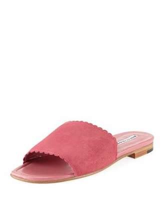 Manolo Blahnik Suede Scalloped Slide Flat Sandals, Pink