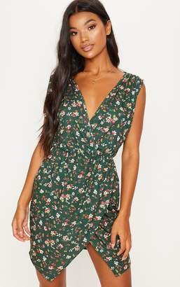PrettyLittleThing Emerald Green Sleeveless Wrap Tea Dress