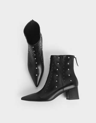 Charles & Keith Embellished Block Heel Ankle Boots