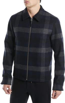 Theory Men's Wyatt Zip-Front Mosaic Plaid Wool-Blend Jacket