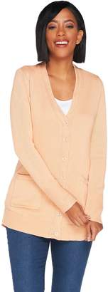 Isaac Mizrahi Live! Long Sleeve V-neck Button Front Cardigan