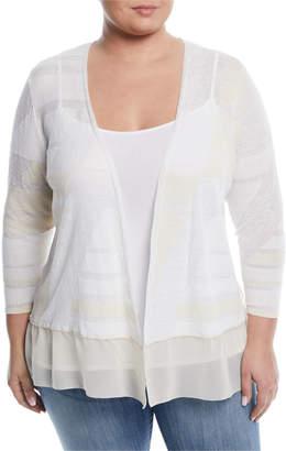 Nic+Zoe Sunlight Striped Chiffon-Hem Cardigan, Plus Size