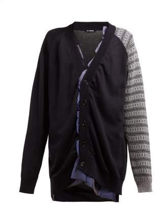 Raf Simons Contrast Sleeve Ruffle Cotton Blend Cardigan - Womens - Navy Multi