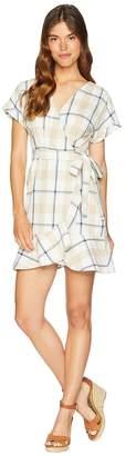 J.o.a. Short Sleeve Wrap Dress with Ruffle Women's Dress