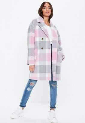 Missguided Petite Pink Plaid Print Cocoon Coat